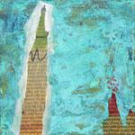 Werkreihe Traumwelten - Mischtechnik mit Kupferpatina auf Malgrund - Titel: Florentine geht spazieren - 20 x 20 x 3cm - 2019