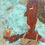 Werkreihe Traumwelten - Mischtechnik mit Kupferpatina auf Malgrund - Titel: königin mit Krone - 20 x 20 x 3cm - 2019