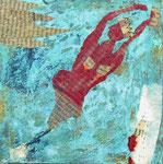 Werkreihe Traumwelten - Mischtechnik mit Kupferpatina auf Malgrund - Titel: Flucht des Flaschengeistes oder die Befreiung - 20 x 20 x 3cm - 2019