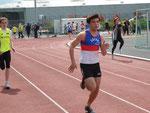 Maxence 3ème de sa série du 100m
