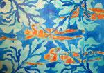 """Thomas Landt - """"Schwimmer ist, wer farbig krault II"""" - Aquarell auf Büttenpapier - 35x50 cm - 2014 - Sylt"""