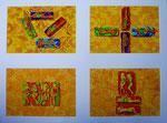 """Thomas Landt - """" Entweder - Oder II """" - 4x Aquarell auf Büttenpapier - jeweils 35 x 50 cm - 2014 - Sylt"""