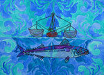 """Thomas Landt - """"ich bin eine Makrele und mag die Wahrheit"""" - Aquarell auf Büttenpapier - 57x43 cm - 2017 - Sylt"""