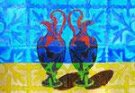 "Thomas Landt - ""Vase - Liebe I "" - Aquarell auf Büttenpapier - 35x50 cm - 2014 - Sylt"