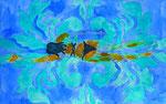 """Thomas Landt - """"Schwimmer ist, wer farbig krault I"""" - Aquarell auf Büttenpapier - 35x50 cm - 2014 - Sylt"""