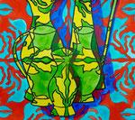 """Thomas Landt - """"Alle Macht geht von den Vasen aus"""" - Aquarell auf Büttenpapier - 44x31 cm - 2014 - Sylt"""