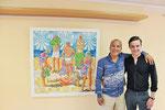 """Thomas Landt - mit meinem Sohn Zino bei der Ausstellungseröffnung """" Neulandt """" vor dem Gemälde: """" unser täglich Strand ( Freundschaftskreis der Ornamentalisten ) """" - Sylt"""