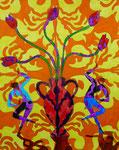 """Thomas Landt - """"Wie sag ichs Dir durch die wilden Tulpen"""" - Aquarell auf Büttenpapier - 40x50 cm - 2017 - Sylt"""