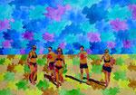 """Thomas Landt - """"5 Chinesische Freunde sollt ihr sein"""" - Aquarell auf Büttenpapier - 50x35 cm - 2017 - Sylt"""