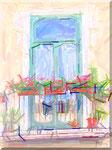 Cava de' Tirreni - Balcone con gerani a p.za Duomo dipinto da un bambino