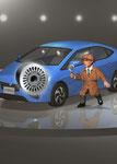 ステージの子供探偵と車
