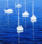 Boats Floating in Blue