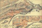 """1901 """"Santander"""", de la guía """"Espagne & Portugal"""" de Karl Baedeker; cartografía por Wagner & Debes, Leipzig"""