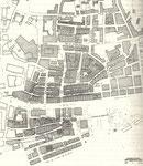 1941 Plano levantado tras el incendio, indicando el parcelario afectado