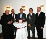 Buchpräsentation am 22. November 2011 mit Bürgermeister A. Jakl, Dischingen, Dr. K. Scheuermann, Prof. Dr. C. Wolf, Präsident des Landesdenkmalamtes Baden-Württemberg, Bürgermeister G. Dannenmann von Neresheim und dem Abt.