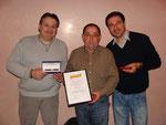 Die Geehrten an der HV vom 13.02.2009 in Chur v.l.n.r.: Mirco Toniolo Vielmi (20 J.), Silvano Schröttenthaler (30 J.) und Alessandro Gallo (10 J.)