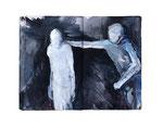 kreon und ödipus  20x22cm  Acryl auf Buch  2013  (sold)