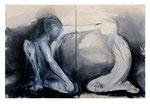 """""""the offering""""  120x180cm (Diptychon) Graphit und Acryl auf Leinwand (sold)"""