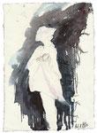 """""""Es ist der Teufel. Unter seinen Schwingen trägt er, wie eine riesige Fledermaus, die ihre Jungen säugt, die sieben Todsünden / Blatt 52"""" 21x14cm 2013"""