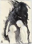 """""""Begehrst du die Rangordnung der Engel zu kennen, die Kraft der Zahlen, die Ursache der Entstehung allen Lebens und der Metamorphosen kennen? / Blatt 85"""" 21x14cm 2013"""