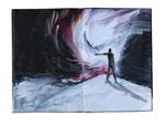 landing eagle  16x20cm  Acryl auf Buch  2013  (sold)