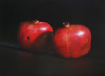 "Tom Seghi, ""Two Pomegranates,"" acrylic on canvas, 30 x 40 inches"