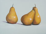 "Tom Seghi, ""Golden Pears on Light Blue,"" acrylic on canvas, 30 x 40 inches"