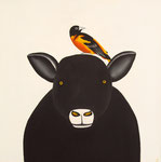 "Jain Tarnower, ""Black Icelandic Sheep with Baltimore Oriole,"" oil on canvas on panel, 24 x 24 inches, $3,800"