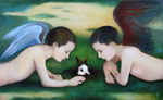 """Norma Bessouet, """"Then Alice Left and the Rabbit Showed Up,"""" 2012, oil on panel, 20 x 32"""", contact"""