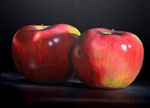 "Tom Seghi, ""Two Red Apples,"" acrylic on canvas, 46 x 54 inches, SOLD"