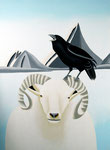 "Jain Tarnower, ""Raven on Wiltshire Sheep and Steller's Jay,"" oil on canvas on panel, 40 x 30 inches, $5,800"