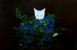 "Norma Bessouet, ""Suddenly a Cat,"" 2012, oil on linen, 16 x 24"", SOLD"