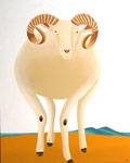 "Jain Tarnower, ""Wiltshire Sheep"" oil on canvas on panel, 45 x 36 inches, $6,000"