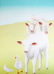"Jain Tarnower, ""Three Charolais"" oil on canvas on panel, 88 x 66 inches, $18,000"