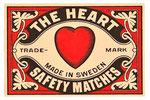Vintage Heart Swedish Matchbox Label 60x40 cms.