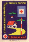 First aid for remote places: cs. cerveny kriz [czecho-slovak red cross]. 1959. czechoslovakia. matchbox label. print. ephemera. art. graphic design. Stanice prvni pomoci v odlehlych obcich.