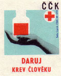 Donate Blood: Czechoslovak Red Cross. 1971. Czechoslovakia. matchbox labels. print. ephemera.