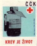 Blood is Life: Czechoslovak Red Cross. 1971. Czechoslovakia. Matchbox Labels. print. ephemera.