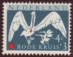 Aquí en un Sello Postal de Holanda se puede observar una Gota de Sangre en el pico de un Pelícano.