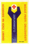 Czechoslovak Red Cross: cs. cerveny kriz [czechoslovak red cross]. 1960. czechoslovakia. matchbox label. print. ephemera. art. graphic design.