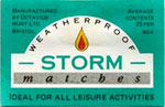 Storm matches by Hunt of Bristol, Unused label - c1990's.