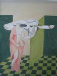 Kopflos greift sie Hypnos in die Lippen, Gouache, 1974