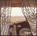 Vorhang auf, Glasbild, 1987