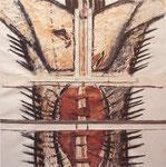 Die Geißelung Jesu, Einzelbild des Güglinger Palmtuchs, Mischtechnik auf Leinwand, 1988
