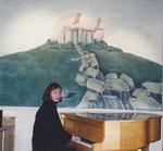 Restaurant Schloss Haigerloch (mit Ursula Stock am Flügel), Acryl auf Leinwand, 1982