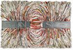 Kraftströme | 62x72x5 cm | Zeitung, Stahl auf Holz
