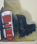 Rollers et skis, 54 x 65 cm, huile sur toile