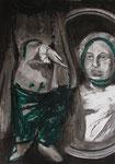 Nain Bébé, fusain, craie et huile sur papier, 42 x 59,4 cm, 2016
