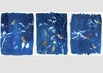 Dioramas,  acrylique et cyanotype sur papier, 50x65cm, 2021