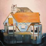 La maison du chat, 120 x 120 cm, huile sur toile